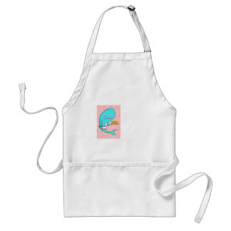 Whale homemaker mother with krill cake adult apron