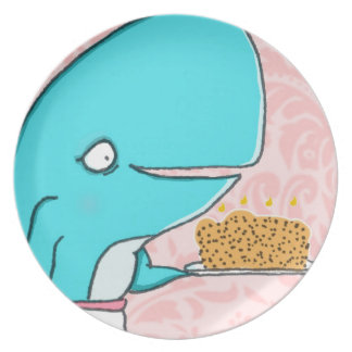 Whale homemaker mother with krill cake dinner plate