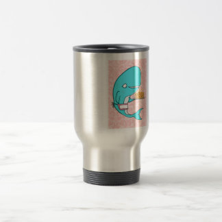 Whale homemaker mother with krill cake 15 oz stainless steel travel mug