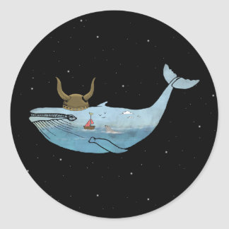 Whale illustration classic round sticker