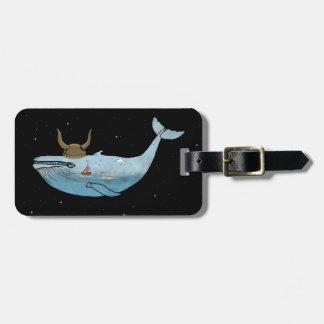 Whale illustration luggage tag