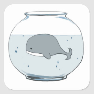 Whale in a Fishbowl Square Sticker