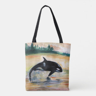 Whale in Jump Wild Orca All-Over-Print Tote Bag