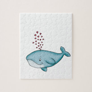 Whale in Love with Hearts Puzzles