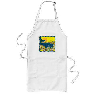 whale in the sunset design aprons