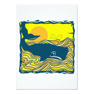 whale in the sunset design card