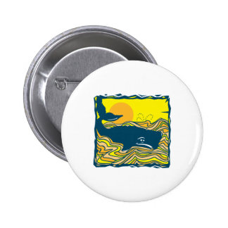 whale in the sunset design pinback button