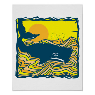 whale in the sunset design poster