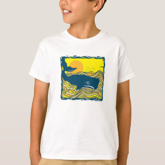 whale in the sunset design T-Shirt