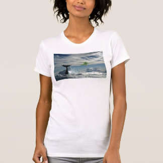 Whale in tropical clouds t-shirt