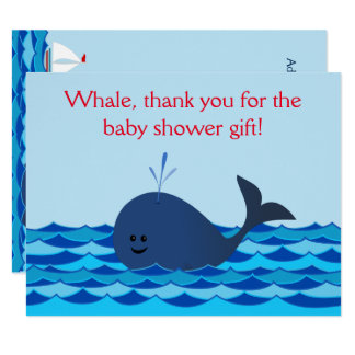 Whale It's A Boy Baby Shower Flat Thank You Note Card