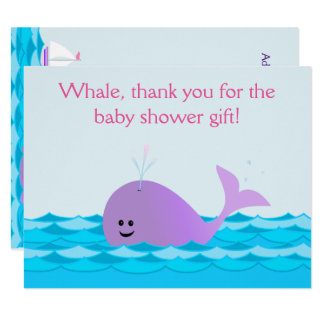 Whale It's A Girl Baby Shower Flat Thank You Note Card