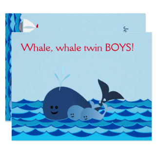 Whale It's A Twin Boys Baby Shower Invite