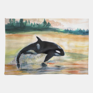 Whale Jumping Orca Tea Towel 40.6 cm x 61 cm