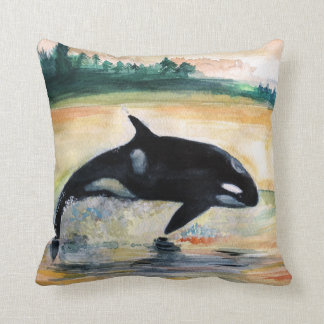 Whale Jumping Orca Throw Cushion 41 cm x 41 cm