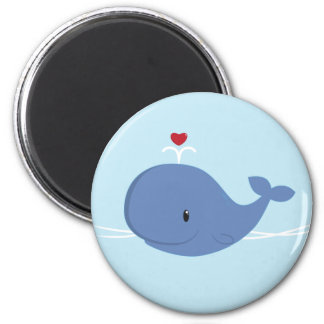 Whale love 2 inch round magnet