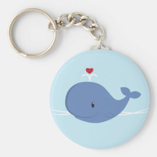 Whale love basic round button keychain