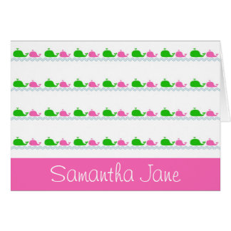 Whale Love Pink and Green Card