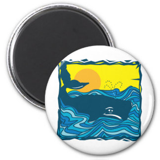 Whale 2 Inch Round Magnet