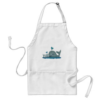 Whale Mom and Baby Swimming in the Sea Adult Apron