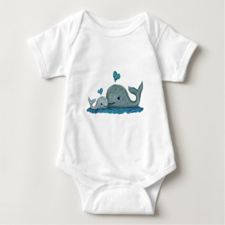Whale Mom and Baby Swimming in the Sea Baby Bodysuit