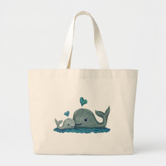 Whale Mom and Baby Swimming in the Sea Jumbo Tote Bag