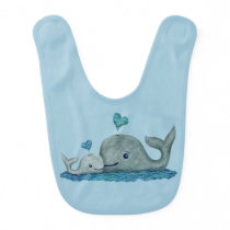 Whale Mom and Baby Swimming in the Sea Bib