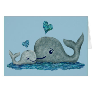 Whale Mom and Baby Swimming in the Sea Card