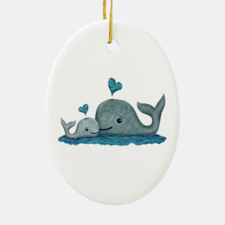 Whale Mom and Baby Swimming in the Sea Ceramic Ornament