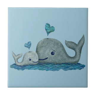 Whale Mom and Baby Swimming in the Sea Ceramic Tile