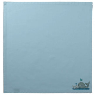 Whale Mom and Baby Swimming in the Sea Cloth Napkin