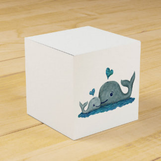 Whale Mom and Baby Swimming in the Sea Favor Box