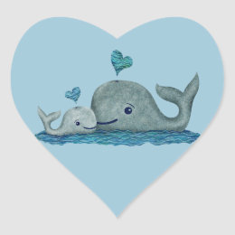Whale Mom and Baby Swimming in the Sea Heart Sticker