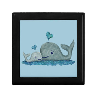 Whale Mom and Baby Swimming in the Sea Jewelry Box
