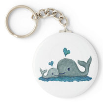 Whale Mom and Baby Swimming in the Sea Keychain