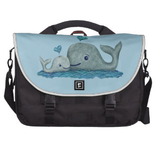 Whale Mom and Baby Swimming in the Sea Laptop Commuter Bag