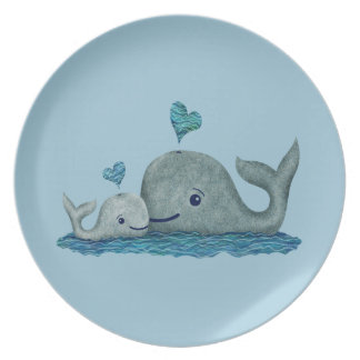 Whale Mom and Baby Swimming in the Sea Melamine Plate