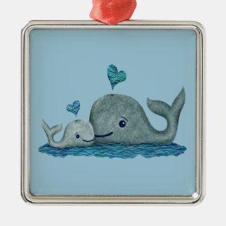 Whale Mom and Baby Swimming in the Sea Metal Ornament