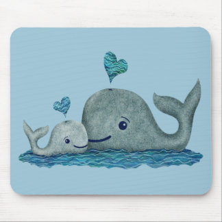 Whale Mom and Baby Swimming in the Sea Mouse Pad