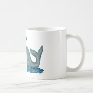 Whale Mom and Baby Swimming in the Sea Classic White Coffee Mug