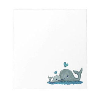 Whale Mom and Baby Swimming in the Sea Notepad