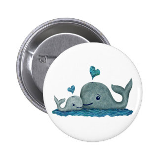 Whale Mom and Baby Swimming in the Sea Pinback Button