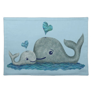 Whale Mom and Baby Swimming in the Sea Placemat