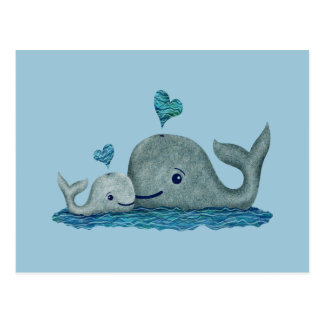 Whale Mom and Baby Swimming in the Sea Postcard