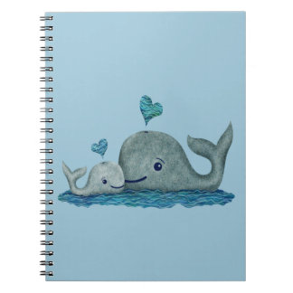 Whale Mom and Baby Swimming in the Sea Spiral Notebook