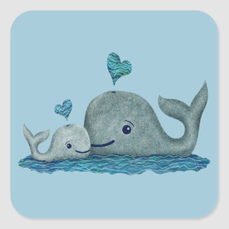 Whale Mom and Baby Swimming in the Sea Square Sticker