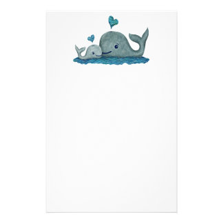 Whale Mom and Baby Swimming in the Sea Stationery