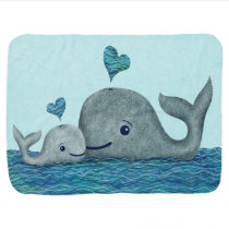 Whale Mom and Baby Swimming in the Sea Stroller Blanket