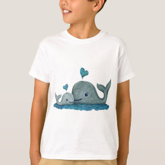 Whale Mom and Baby Swimming in the Sea T-Shirt