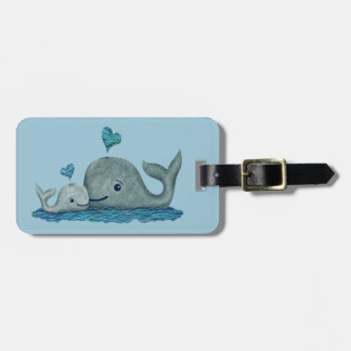 Whale Mom and Baby Swimming in the Sea Tag For Luggage